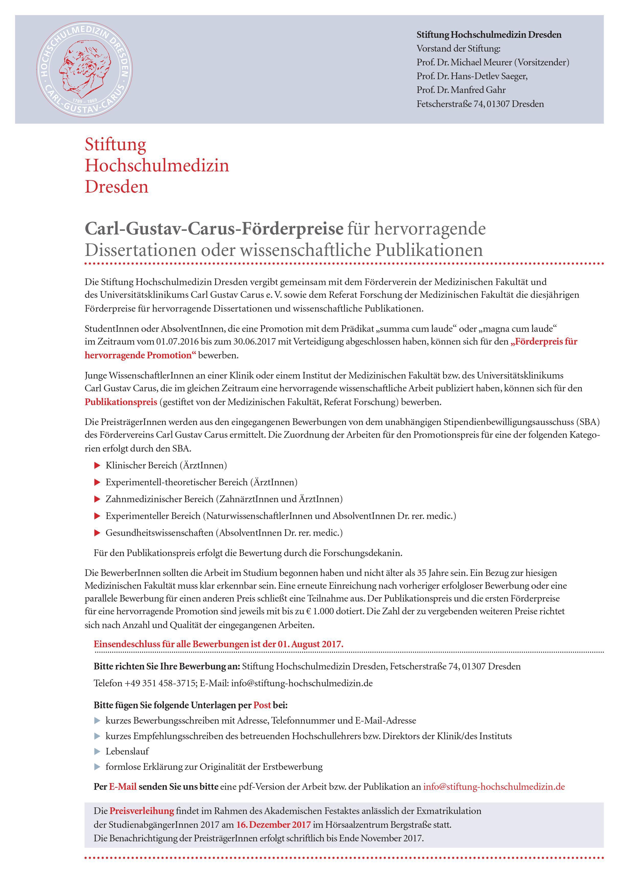 Carl Gustav Carus Förderpreise Für Hervorragende Dissertationen Oder