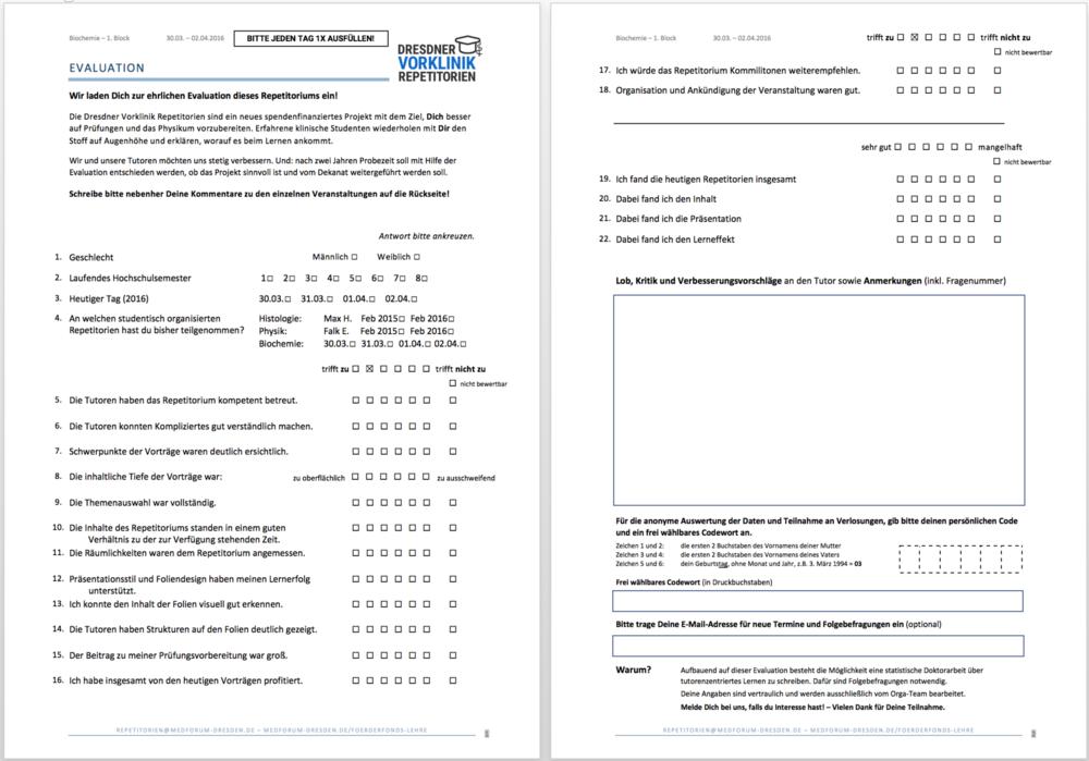 Evaluation – Dresdner Vorklinik Repetitorien